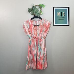 Soprano V Neck Orange Patterned Dress